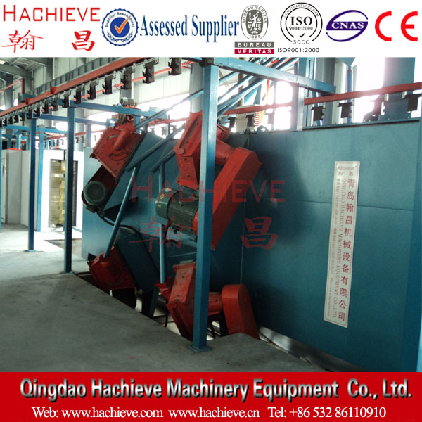 Shot blasting and oil spraying line